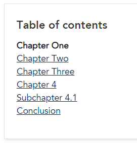 Table of contents with chapter in words and indented sub-chapter