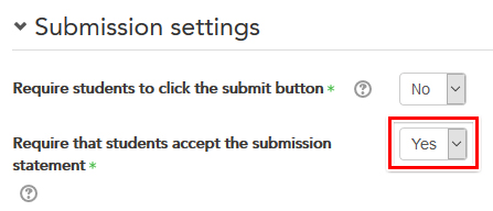 Submission statement setting