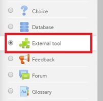 User selecting the External Tool activity type