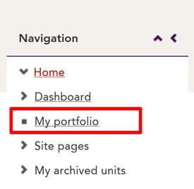 image displays access to My ePortfolio link in the Navigation block