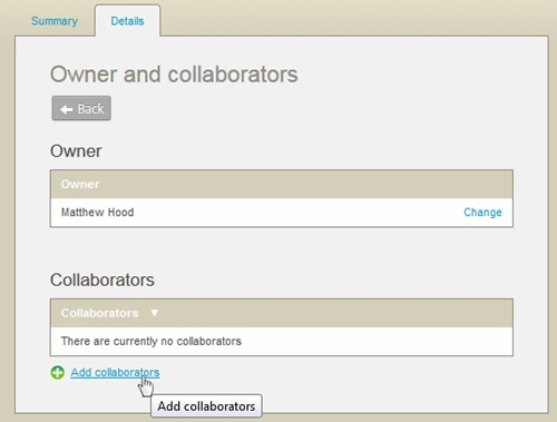 The link to add collaborators to an item
