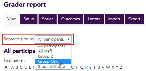 The dropdown menu available in the Grader report when you have groups enabled at the unit level.