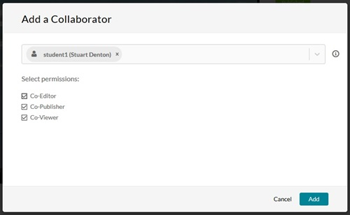 The options to add collaborator as editor or publisher