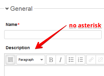 optional fields have no asterisk next to the field name