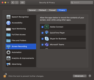 Adobe Connect screen recording option selected