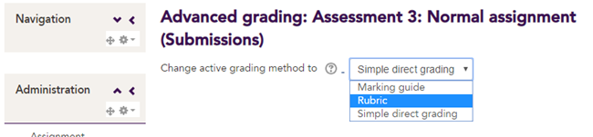 Rubric selected from 'Change active grading method' drop down box