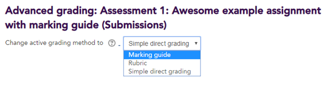 Marking guide selected in the 'Change active grading method' drop down menu