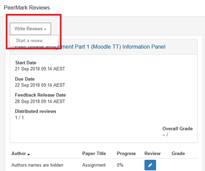 Select Write Reviews then Start a review after the due date.