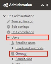 screenshot of the Administration block. There is an arrow pointing to 'Users' and Groups is highlighted.