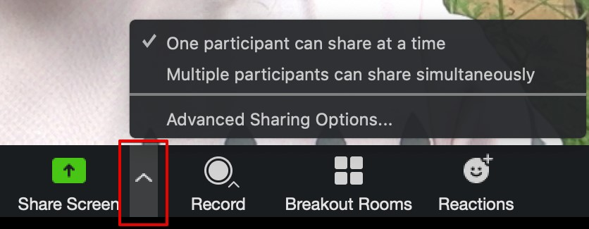 control sharing options