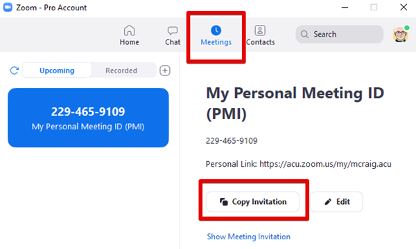 Zoom app meetings copy invitation